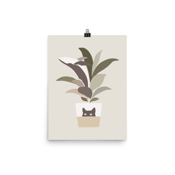 Cat and Plant 29: A leaf of Whale - Art print