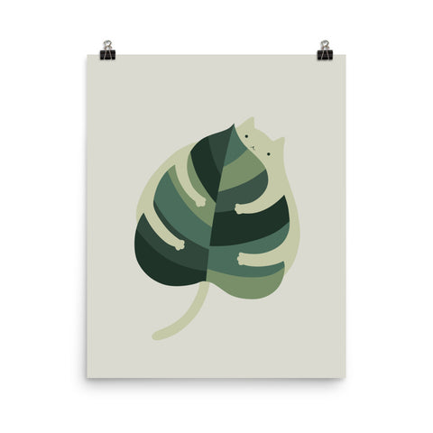 Cat and Plant 1: Monstera Cat Hug - Art print