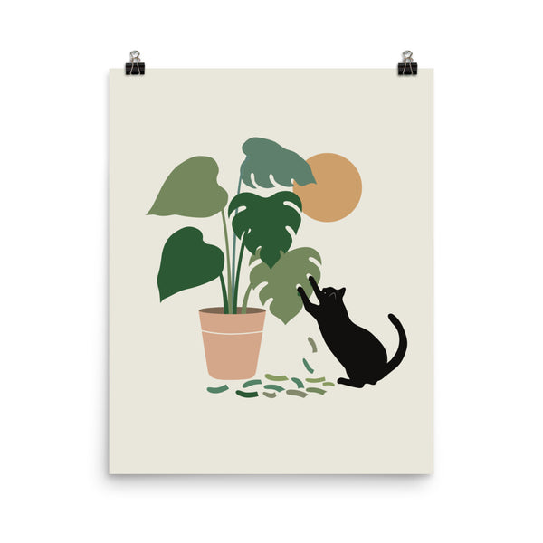 Cat and Plant 13: The Making of Monstera - Art print