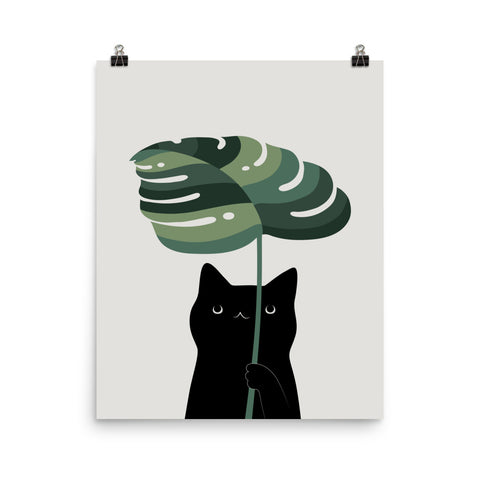 Cat and Plant 16 - Art print