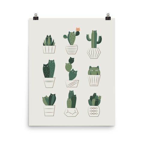 Cat and Plant 20: CAT-TUS - Art print