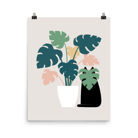 Cat and Plant 21: Leaf Me Alone - Art print