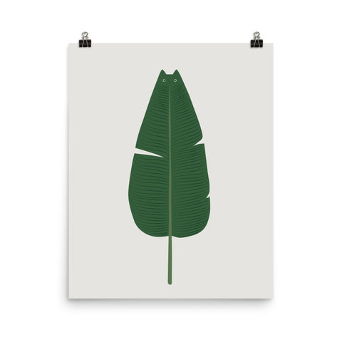 Cat and Plant 23: Meownana Leaf - Art print