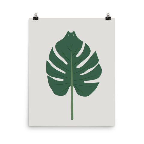 Cat and Plant 24: Meowstera Leaf - Art print