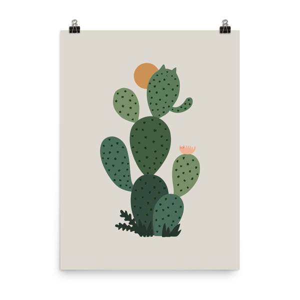 Cat and Plant 3: Cat-tus - Art print