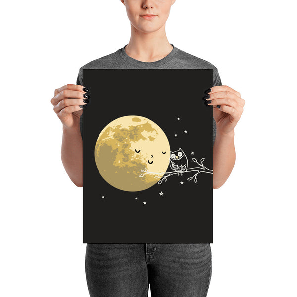 Owl and Moon - Art print