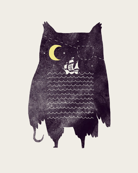 Pirate owl - Art print