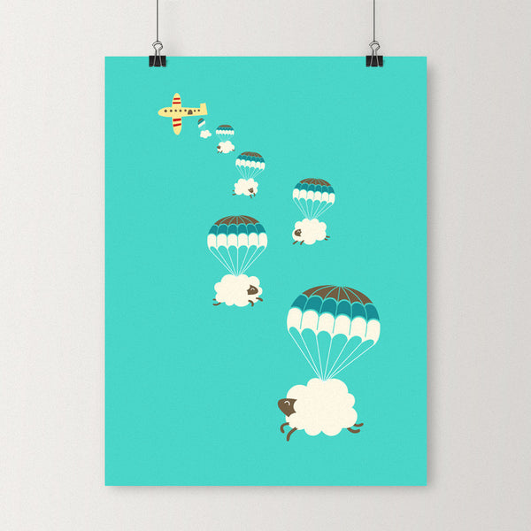 Sheepy clouds - Art print