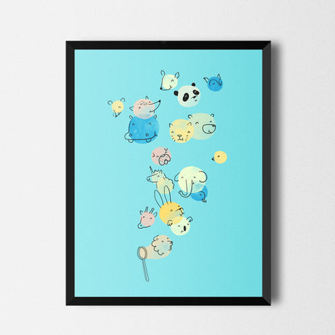 Bubble Animals - Art print