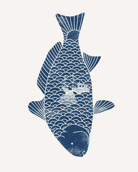 Fishing in a fish - Art print