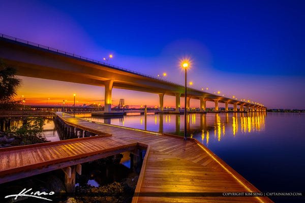 Stuart River Walk & Roosevelt Bridge. Stuart Florida.