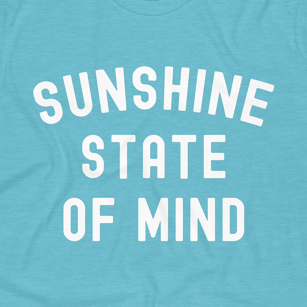 Close up on our Aqua Sunshine State of Mind tee. Free Shipping on All U.S. orders!