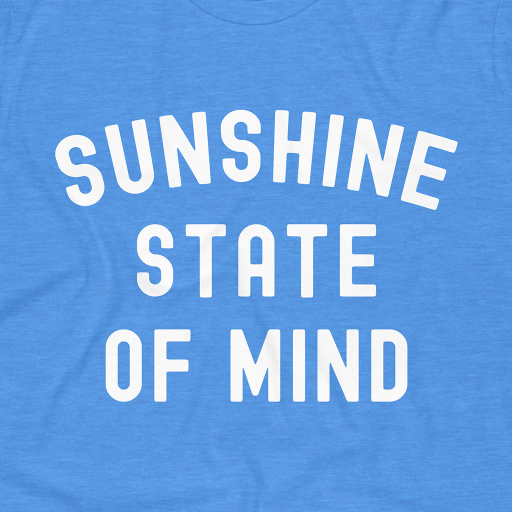 Close up on our Royale Blue State of Florida tee. Rock This Sunshine State of Mind shirt while supplies last!