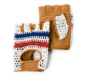Cycling gloves gloves beige white red blue