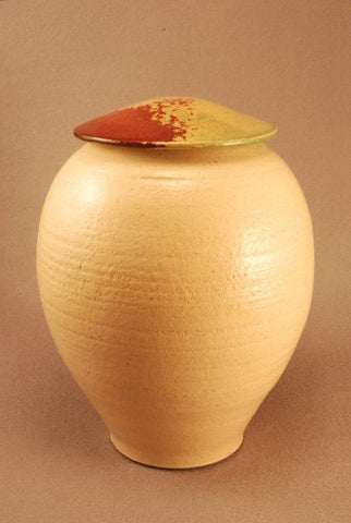 Large ceramic Raku urn- white crackle glaze-red-green lid-handthrown-art-artistic urn