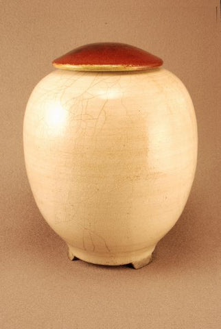 Adult Raku ceramic urn-white crackle body- red bronze lid- carved feet-handthrown