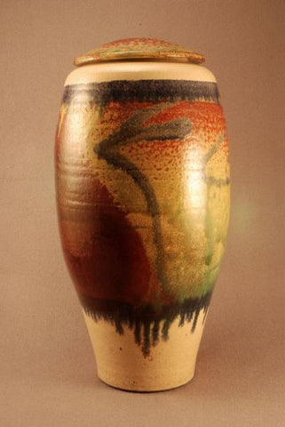 Large Raku ceramic urn- red- blue- green- companion urn
