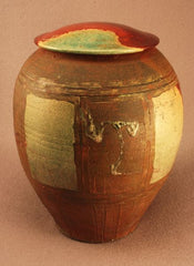 Adult Raku ceramic urn-red bronze glaze- calligraphic gestures-hand thrown
