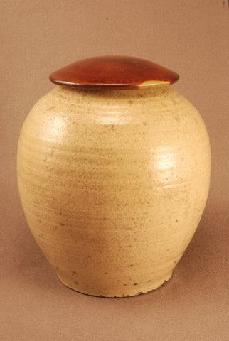 Adult Raku ceramic urn-white crackle body- red bronze lid- handthrown