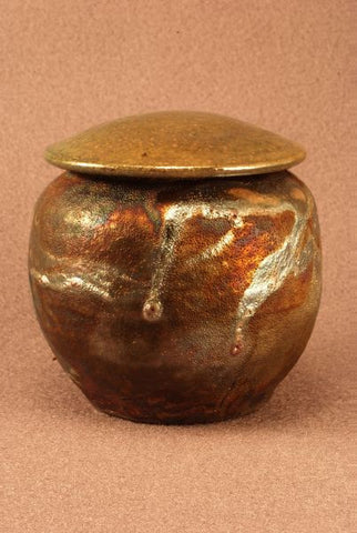 Raku Ceramic keepsake urn-pet urn-infant urn- copper toned body-handthrown