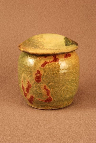 Raku Ceramic keepsake urn-pet urn-infant urn- earth toned body- calligraphic markings handthrown-