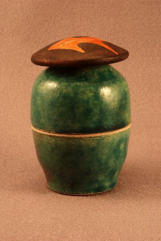 Raku ceramic companion keepsake urn- green- gold leaf-art-artistic urn