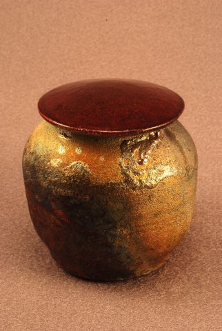 Raku Ceramic keepsake urn-pet urn-infant urn-earth tone body- dark calligraphic markings/ red bronze/green lid handthrown-