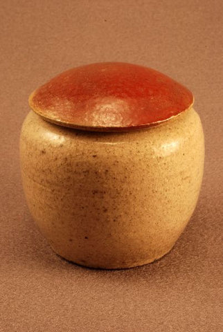 Keepsake Raku ceramic urn-white crackle body- red/green  bronze -lid-