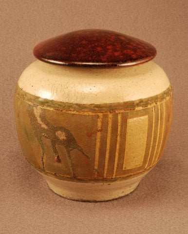 Raku ceramic pet urn- white crackle body- copper and red bronze toned band- red bronze lid