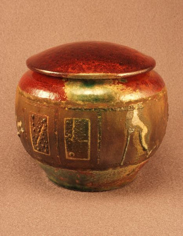 Raku ceramic pet urn- red bronze body- copper and red bronze toned band- red bronze lid