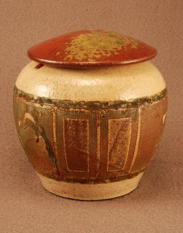 Raku ceramic pet urn-handthrown-red bronze/copper tone- white crackle