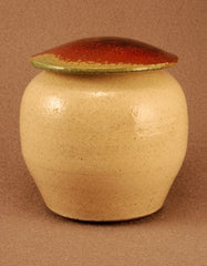 Raku ceramic pet urn-white crackle body- red/green bronze -lid