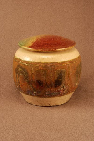 Raku ceramic pet urn-white crackle body- copper and red bronze toned band- red bronze-green lid