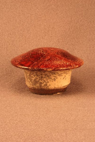 Raku ceramic keepsake-infant-pet urn-white crackle body-red bronze-toned lid-handthrown