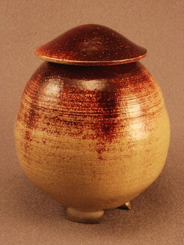 Raku ceramic urn- small- red bronze-handcarved feet-art-artistic urn