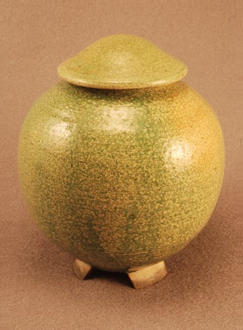 Raku ceramic urn- small- green- footed- handthrown- art-artistic urn