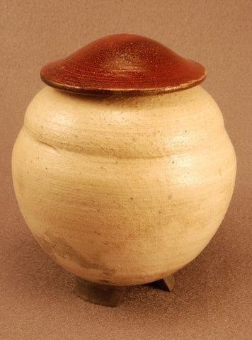 Small Ceramic Raku urn- white crackle- red bronze lid- footed-art-artistic urn-handthrown
