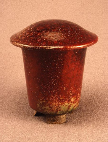 Raku ceramic keepsake-infant-pet urn-red bronze-toned lid and body-handthrown-handcarved feet