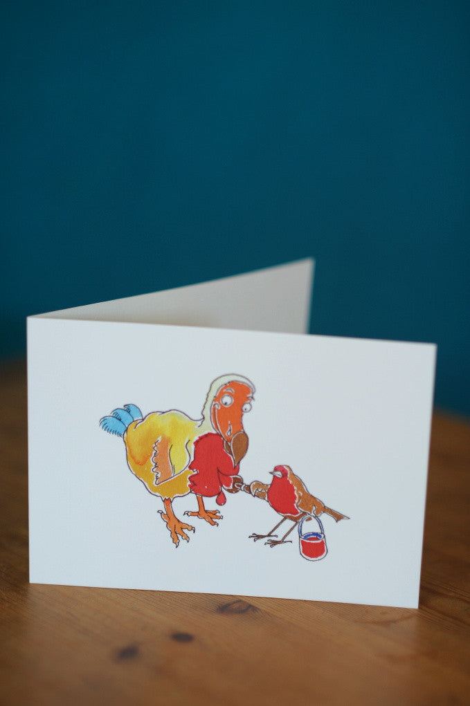 Christmas card with Dodo and robin