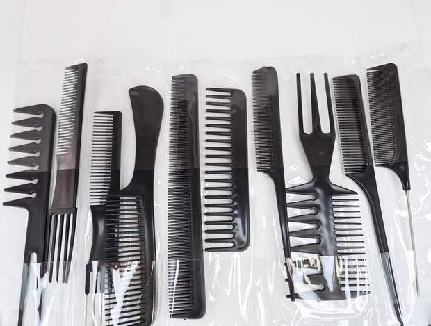 Hair City 10 Piece Comb Set Black