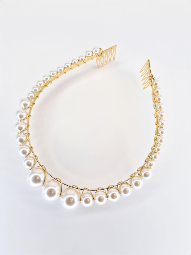 Hair City Pearl Crown Alice Band White Gold