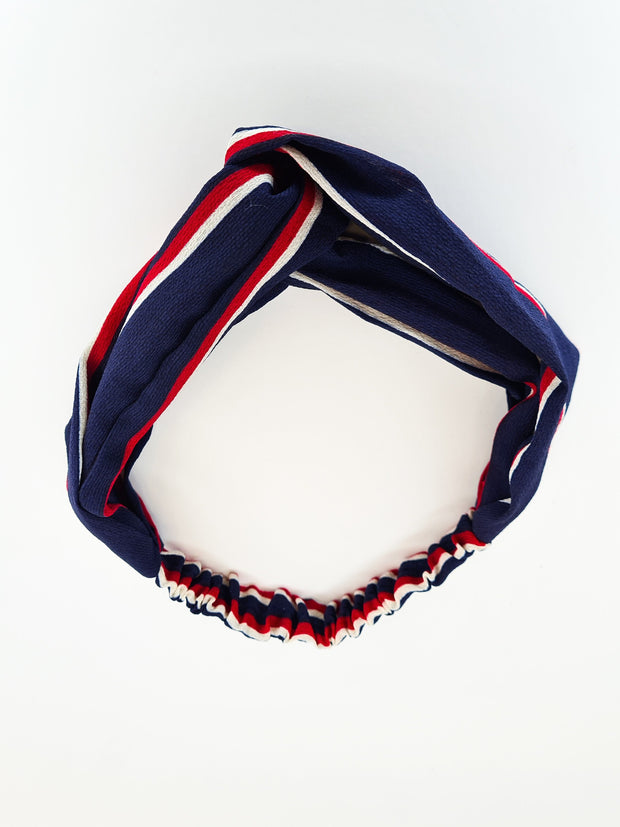 Hair City Stripe Head Band Navy/Red