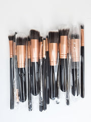 Hair City Faux Mink 14 Piece Makeup Brush Set Rose Gold
