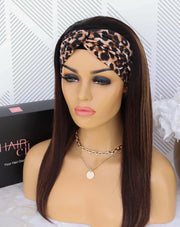 Brazilian Straight HeadBand Wig - Balayage Brown Mocha 18""