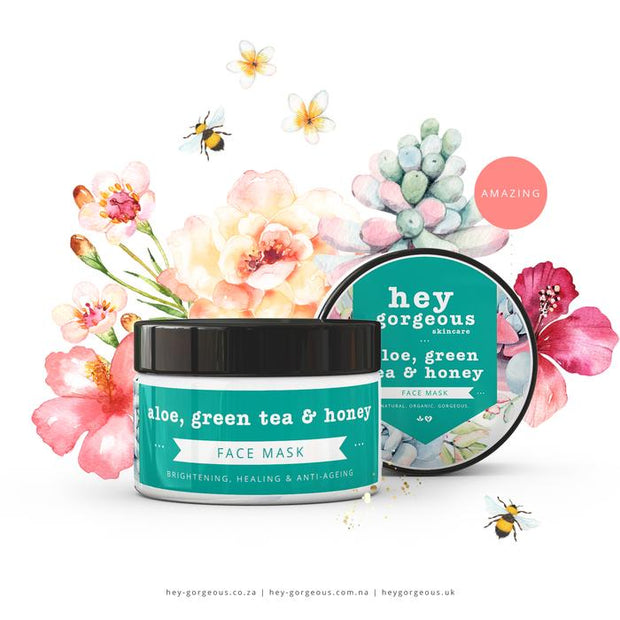 Hey Gorgeous  Aloe Green Tea & Honey Face Mask 100g