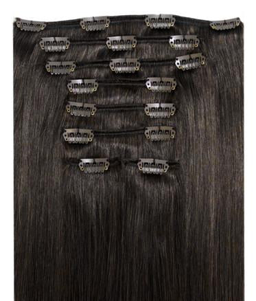 "BRAZILIAN  CLIP IN EXTENSIONS 18"" - OFF BLACK"