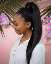 Straight Natural Black Clip In Ponytail - 22""