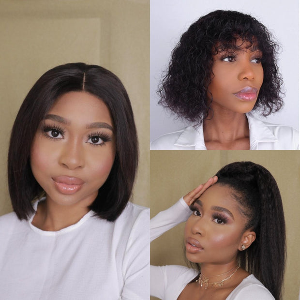 "Brazilian 4x4 Lace Wig - 8"" and  Zoe and Ponytail 18"""