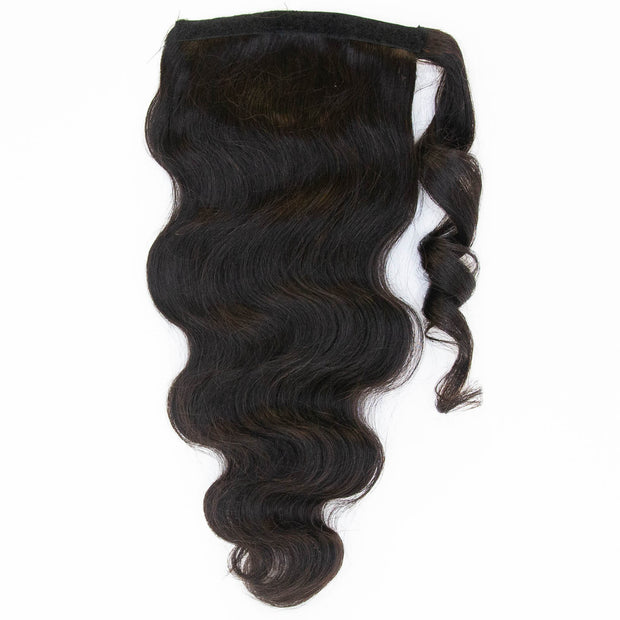 Natural Wave Black Clip In Ponytail - 46cm