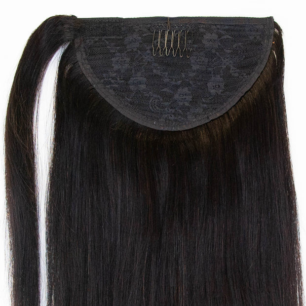 Straight Natural Black Clip In Ponytail - 46cm